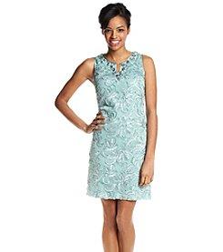 Jessica Howard® Petites' Beaded Neck Floral Sheath Dress