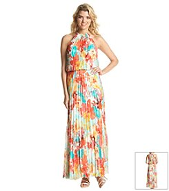 MSK® Floral Pleated Maxi Dress