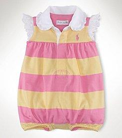Ralph Lauren Childrenswear Baby Girls' Striped Cotton Shortall