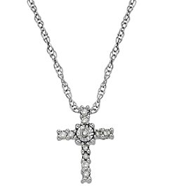 0.09 ct. t.w. Diamond Cross Pendant Necklace in 10K White Gold