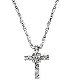 0.09 ct. t.w. Diamond Cross Pendant Necklace in 10K White Gold