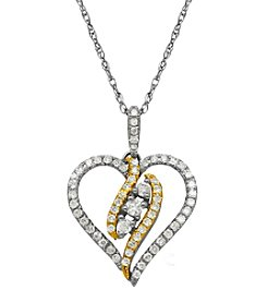 0.37 ct. t.w. Diamond Heart Pendant Necklace in 10K White Gold