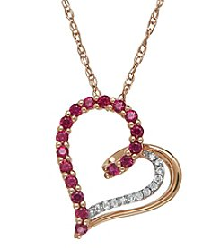 Fine Jewelry 0.04 ct. t.w. Diamond and Ruby Heart Pendant Necklace in 10k Rose Gold
