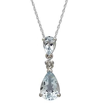 Aquamarine and Diamond Drop Pendant Necklace in 10K White Gold