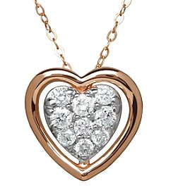10K Rose Gold 0.25 ct. t.w. Diamond Heart Pendant