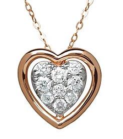 10K Rose Gold 0.25 ct. t.w. Diamond Heart Pendant