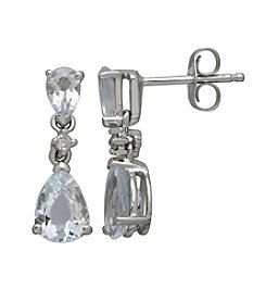 Aqua and Diamond Drop Earrings in 10K White Gold
