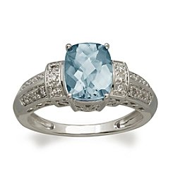Aqua and Diamond Ring in 10K White Gold