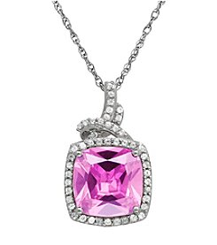 Pink Amethyst and White Topaz Pendant Necklace in Sterling Silver