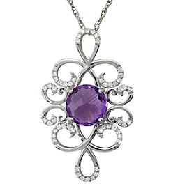 0.16 ct. t.w. Diamond and Amethyst Pendant Necklace in Sterling Silver
