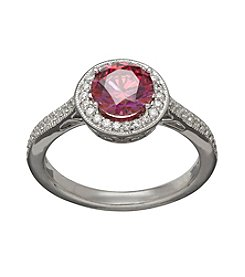 Balentino® Raspberry and White Cubic Zirconia Ring in Sterling Silver