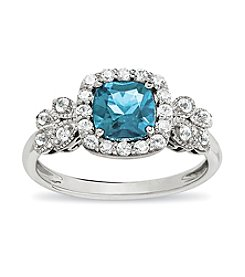 Aqua and White Topaz Ring in Sterling Silver