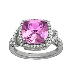 Pink Amethyst and White Topaz Ring in Sterling Silver
