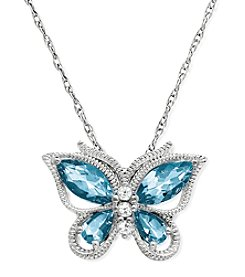 Aqua Butterfly Pendant Necklace in Sterling Silver