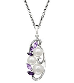 Pink Tourmaline and Amethyst Pendant Necklace with 0.09 ct. t.w. Diamonds in Sterling Silver