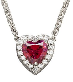 Raspberry and White Cubic Zirconia Heart Pendant Necklace in Sterling Silver