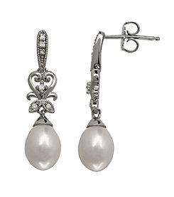 0.05 ct. t.w. Diamond Freshwater Pearl Earrings in Sterling Silver