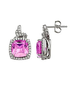 Pink Amethyst and White Topaz Earrings in Sterling Silver