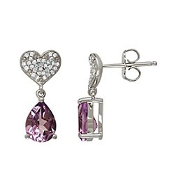 Pink Amethyst and 0.08 ct. t.w. Diamond Earrings in Sterling Silver