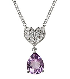 Pink Amethyst and 0.13 ct. t.w. Diamond Pendant Necklace in Sterling Silver