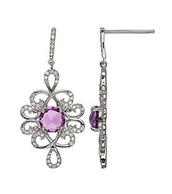 0.31 ct. t.w. Diamond and Amethyst Earrings in Sterling Silver