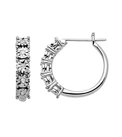 Sterling Silver 0.08 ct. t.w. Diamond Hoop Earrings