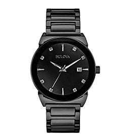 Bulova® Men's Black Bracelet Diamond Dial Watch