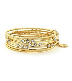 Jessica Simpson Goldtone Crystal Bangle Bracelets