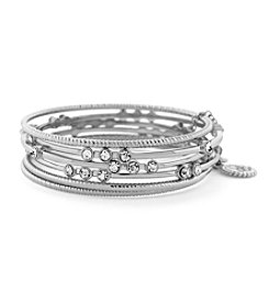 Jessica Simpson Silvertone Crystal Bangle Bracelets