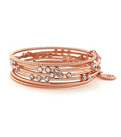 Jessica Simpson Rose Goldtone Crystal Bangle Bracelets
