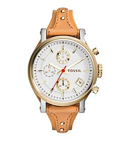 Fossil® Women's Original Boyfriend Watch in Silvertone with Tan Leather Strap