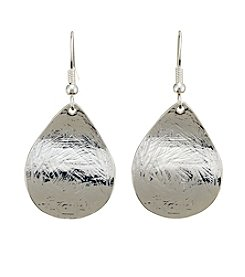Relativity® Silvertone Curved Teardrop Earrings