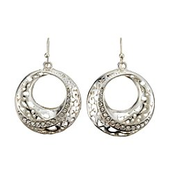 Relativity® Silvertone Open Circle Drop Earrings