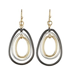 Relativity® Tri-tone Open Interlock Drop Earrings