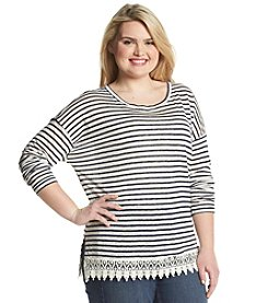 Olivia Sky Plus Size Lace Hem Top