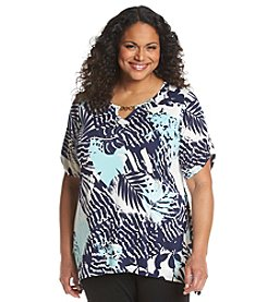 AGB® Plus Size Fern Print Sharkbite Tunic
