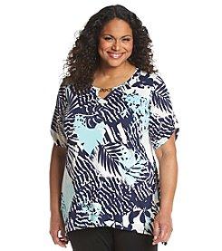 AGB® Plus Size Fern Print Sharkbite Tunic