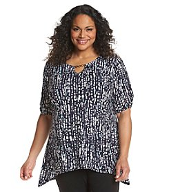 AGB® Plus Size Abstract Print Sharkbite Tunic