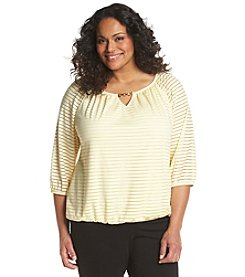 AGB® Plus Size Shadow Stripe Textured Knit Top