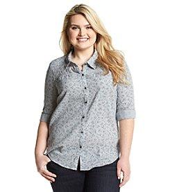 Ruff Hewn Plus Size Gauze Print Western Shirt