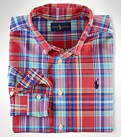 Ralph Lauren Childrenswear Boys' 2T-7 Long Sleeve Poplin Plaid Top