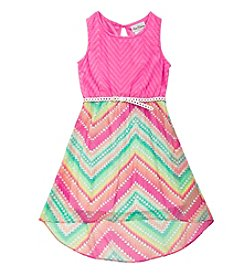 Rare Editions® Girls' 7-16 Chevron Hi Low Dress