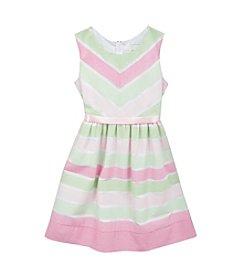 Rare Editions® Girls' 7-16 Striped Dress With Flower