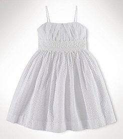 Ralph Lauren Childrenswear Girls' 2T-16 Swiss Dot Pleated Dress