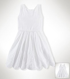 Ralph Lauren Childrenswear Girls' 2T-16 Eyelet Border Dress