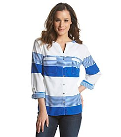 Notations® Stripe Hi Low Button Up Top