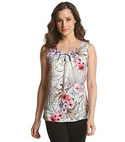 Notations® Floral Print Pintucked Tank