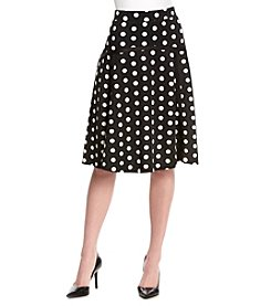 NY Collection Polka Dot Skater Skirt