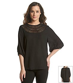 Chaus Lace Neck Blouse