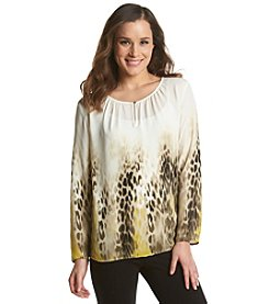 Chaus High-Low Leopard Blouse